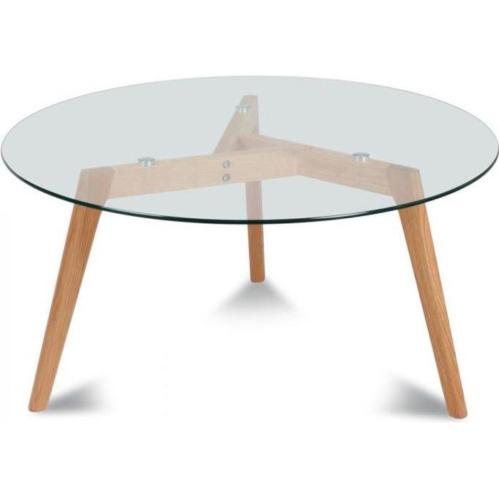 Table basse ronde scandinave verre et chêne