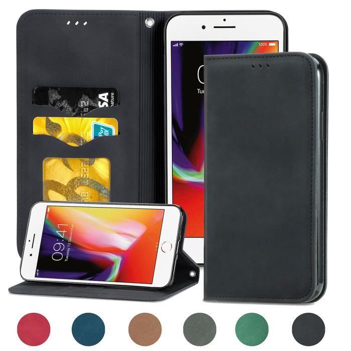 Housse de protection pour iPhone 7 Plus-8 Plus (Noir ) type portefeuille (support carte de credit)