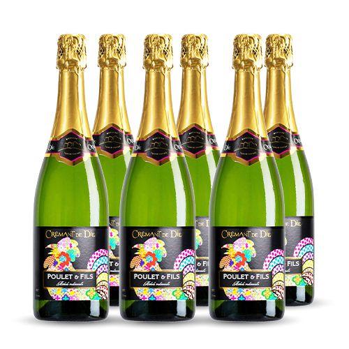 6 bouteilles - Champagne blanc - Effervescent - DOMAINE POULET Et Fils BRUT Crémant de Die Blanc 6x75cl