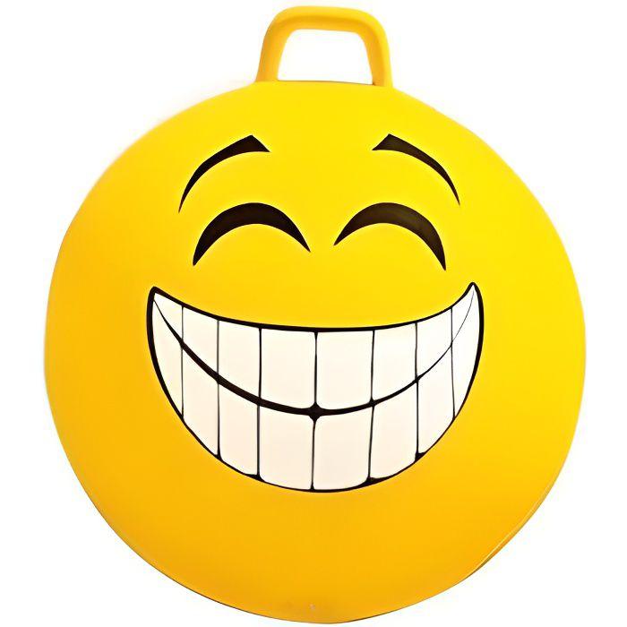 Ballon sauteur XXL 65 cm Jaune Visage souriant - PVC robuste, poignee - Jouet d'interieur - Enfant / Adulte - 80 Kg max
