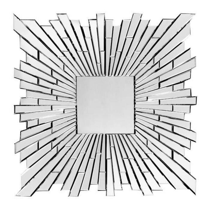 Miroir mural argenté design effet 3D L. 100 x P. 2,5 x H. 100 cm collection Crispano Blanc, Gris