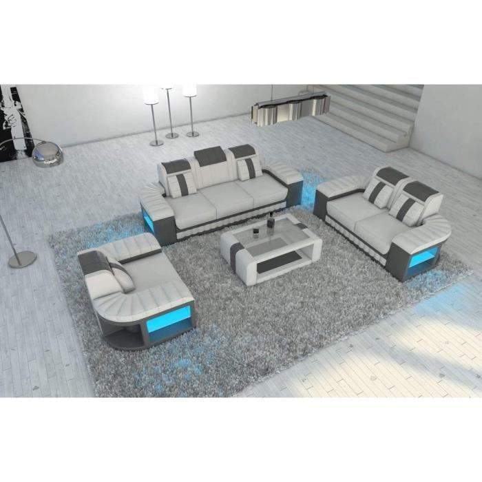 Cuir Sofa Lit 321 Bellagio Blanc Gris