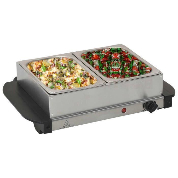 🕊8385Magnifique EXCELLENT - Serveur buffet Chauffe - Chauffe-Plats Chafing Dish Plaque Chauffante - Acier inoxydable 200 W 2x1,5 L