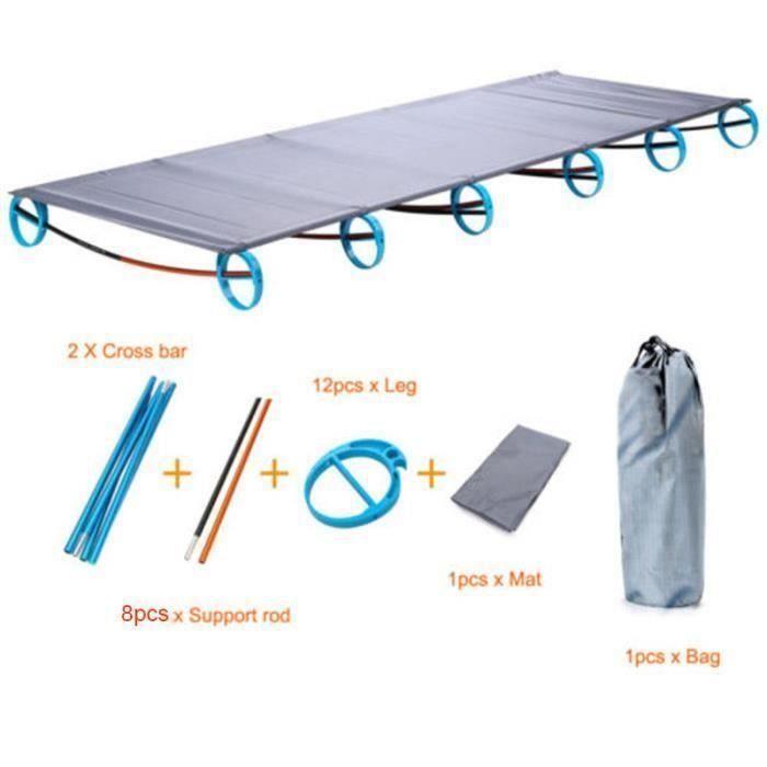 Lit de camp pliant portatif d'alliage d'aluminium Lit de camp d'alliage de camping de plein air