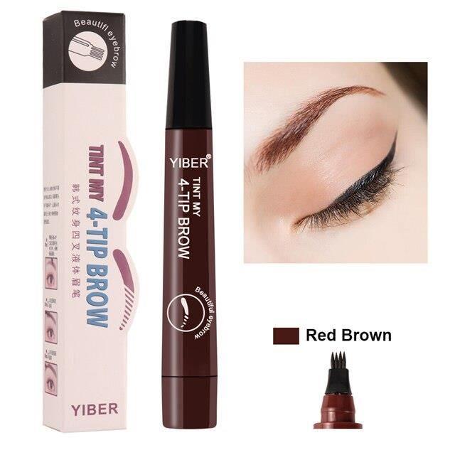 Crayon cosmétique pour les yeux, résistant à l'eau, style tatouage, pour les sourcils, feutre teinté à 4 lignes fine*KI3106