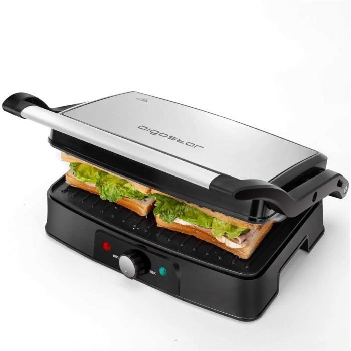Aigostar Grill Viande multifonction, plancha, presse à paninis, appareil à sandwichs. - Hitte 30HFA1500W, plaques anti-adhésives, ou