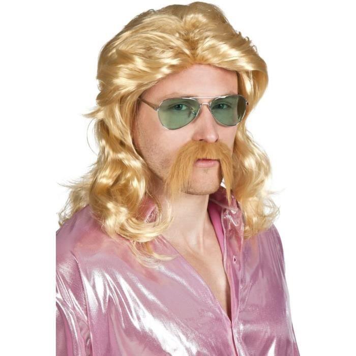 Perruques et postiches pour adultes Boland 85724 – Barry Blonde Longue perruque avec moustache, blond 70483