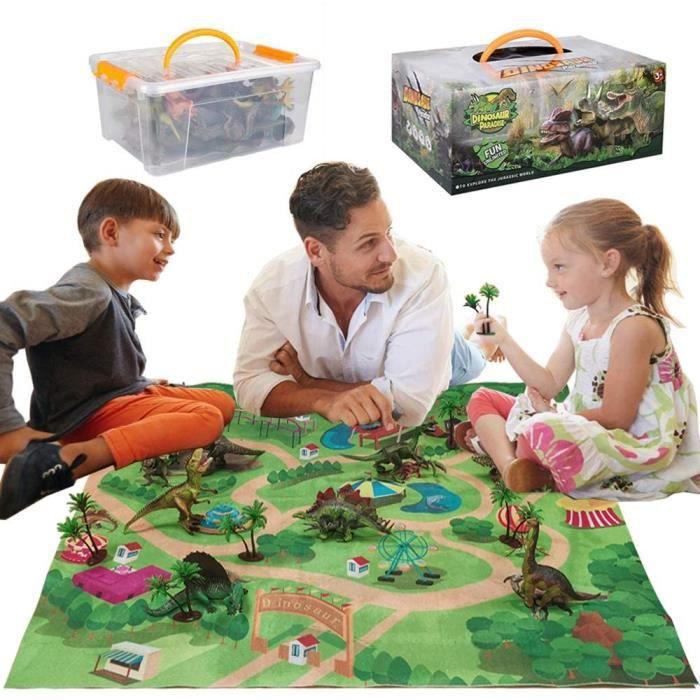 Dinosaure Jouet, Figurine Dinosaure Avec Tapis de Jeu D'activité et Arbres,Jurassic World Jouet Pour Garçons et Filles 3-8 ans