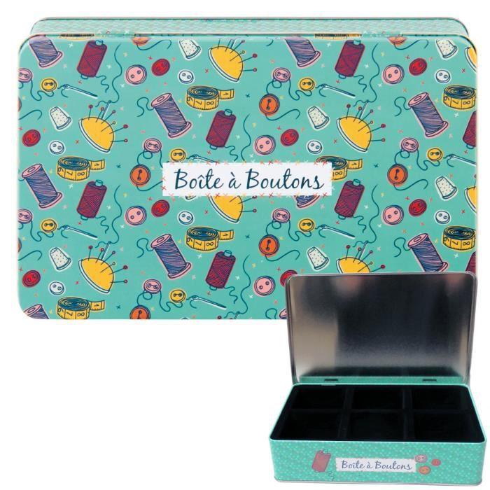 Boîte Compartimentée à Boutons DE FIL EN AIGUILLE Métal - Rangement Couture Idée Cadeau Original pour Femme - DLP Derrière La Porte