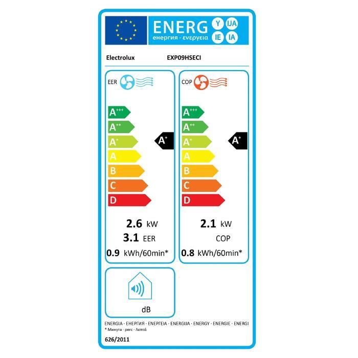 Electrolux B2 _ 0664839 Climatiseur portable • airflower • exp09hseci • 10400 BTU Classe A +-A + • chauffage Pompe