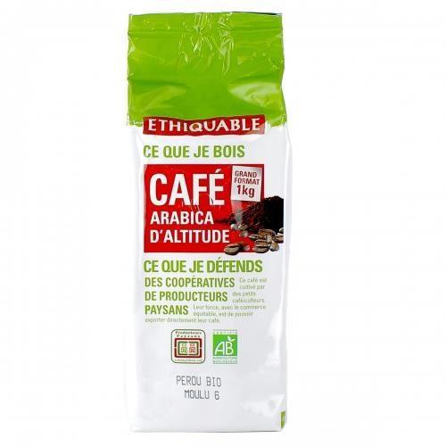 ETHIQUABLE - Café Pérou MOULU bio & équitable 1 kg - 100% Arabica d altitude - intensité 4/5 & 3/5