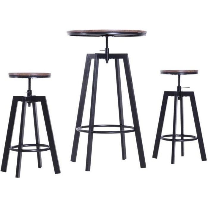 Ensemble table de bar design industriel + 2 tabourets hauteur réglable MDF coloris bois noyer acier noir 180x67x105cm Marron