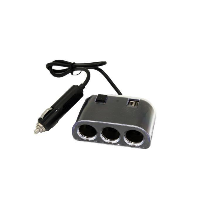 Triple Prise Allume-cigare 12/24V + 2 USB 2.1A