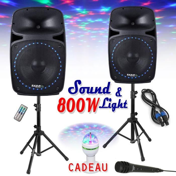 Système de Sonorisation 800W PKG12A-SET - Jeu de Lumière ASTRO - RADIO FM, LECTEUR USB-SD + BLUETOOTH - MICRO