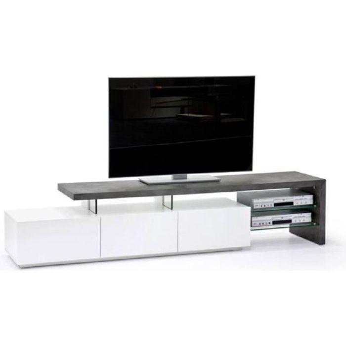 Meuble TV design ALRIK 3 tiroirs structure laquée blanc mat plateau décor béton blanc Bois Inside75