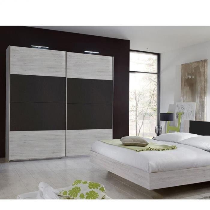 Armoire EVA portes coulissantes largeur 180 chêne blanchi / graphite blanc Bois Inside75