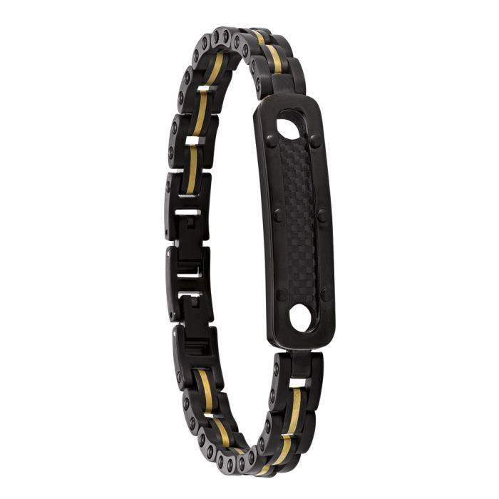Jourdan Bijoux - Bracelet homme - LI016H - Acier bicolore - Plaque carbone