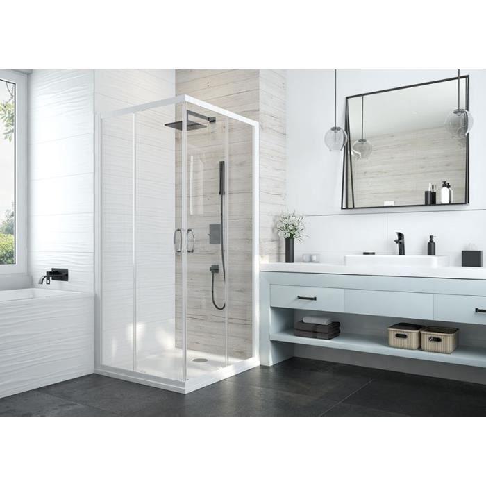 Leda - Paroi coulissant angle 800x800 mm verre transparent profilé blanc - ATOUT 3