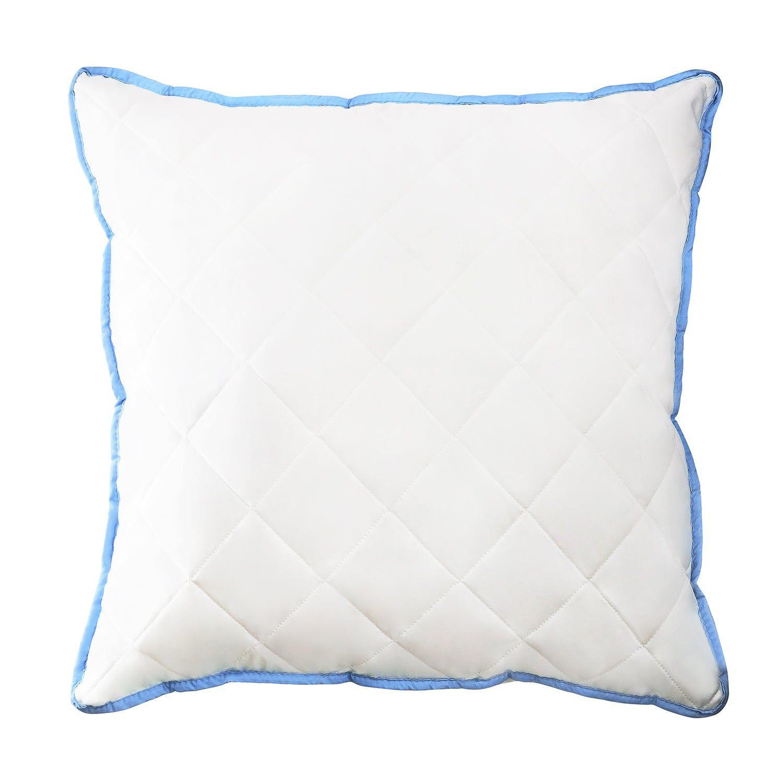 Oreiller 40 x 80 cm polyester housse microfibre matelassée bords bleus oreiller confort optimal hypoallergénique ergonomique -BLEU