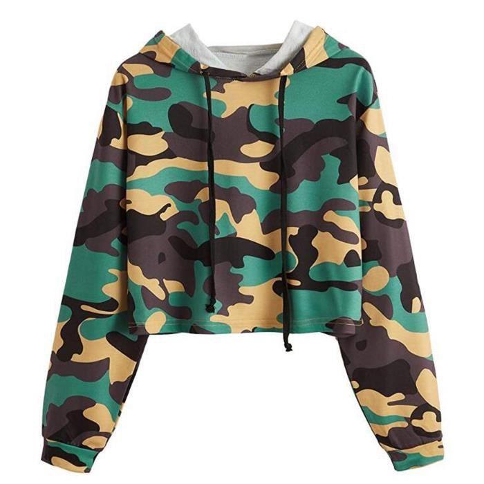 Sweat-shirt à capuche à manches longues et imprimé camouflage avec cordon de serrage pour femmes vert