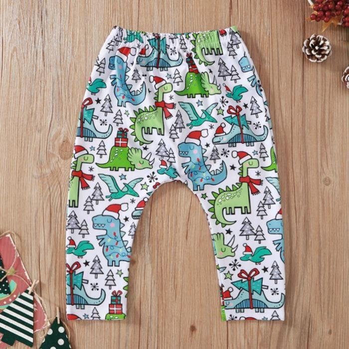 Nouveau bébé Bébé garçon Bébé fille Noël dessin animé imprimé motif pantalon survêtement