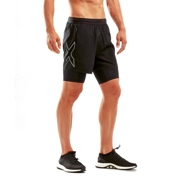 2XU Hommes XVENT 5- 2 in 1 Compression Short Bermuda Sport Pants Trousers Bas De