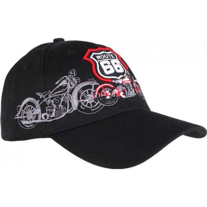 Casquette Baseball Route 66 Noire Baseball Biker - Taille unique - Noir