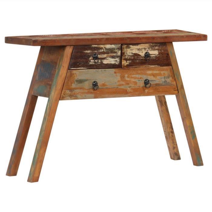 Magnifique Economique Table console 110x30x75 cm Bois solide de récupération