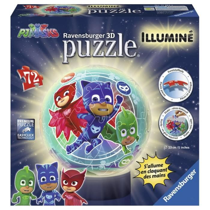 PYJAMASQUES Puzzle 3D Ball Illuminé 72 pièces RAVENSBURGER