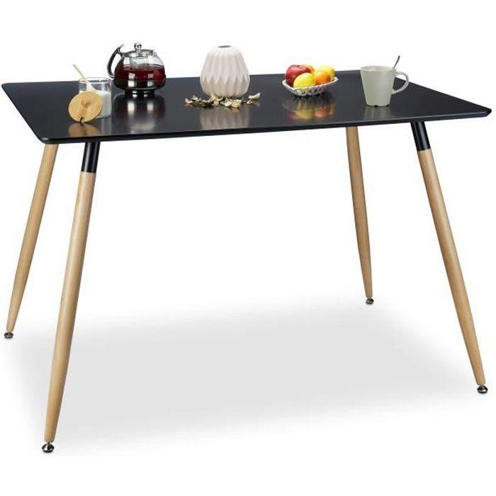 Relaxdays Table à manger ARVID rectangle table de salon table appoint en bois HxlxP: 75 x 120 x 80 cm design scandinave nordique, no
