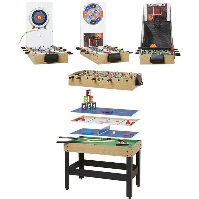 ARCADE JEUX Table multisports - 8 jeux - Hêtre