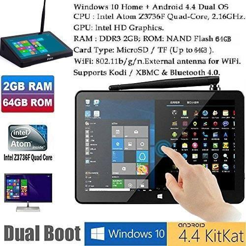 64GB Mini Computer 8.9 -1920x1200 PC TV Desktop Box Android 4.4 Windows 10 Kikat Dual Boot Mini PC 2 Go de RAM 64GB ROM