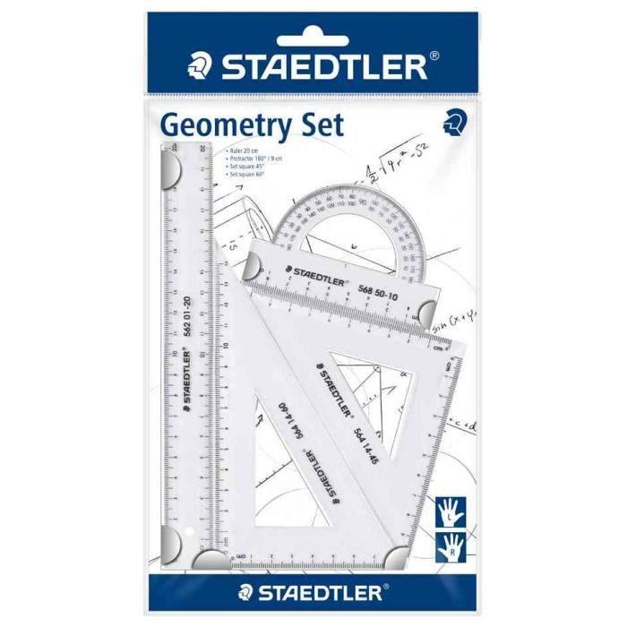 kit de géometrie, petit, 4 pièces, transparent
