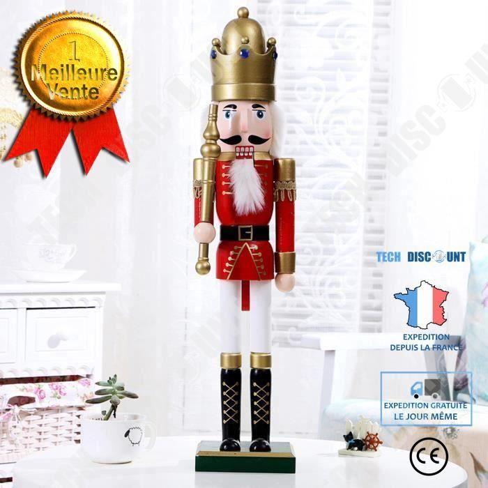 TD® 60cm Soldat Casse-Noisette Coloré En Bois Décoration Noël Cadeau Jouet Poupée Vintage Artisanat