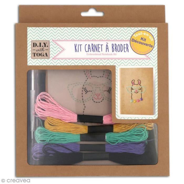 Kit carnet à broder Toga - Lamaa Kit Carnet à broder : 1 cahier en kraft à feuilles blanches de 13 x 18 cm1 gabarit motif Lamaa à