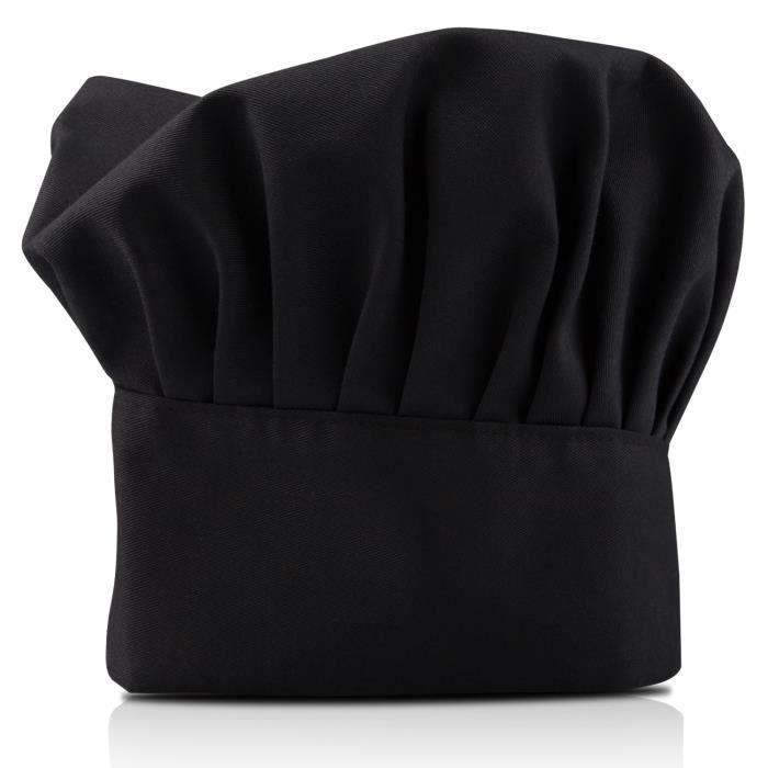 TRIXES Toque Noire Professionnelle de Chef Cuisinier
