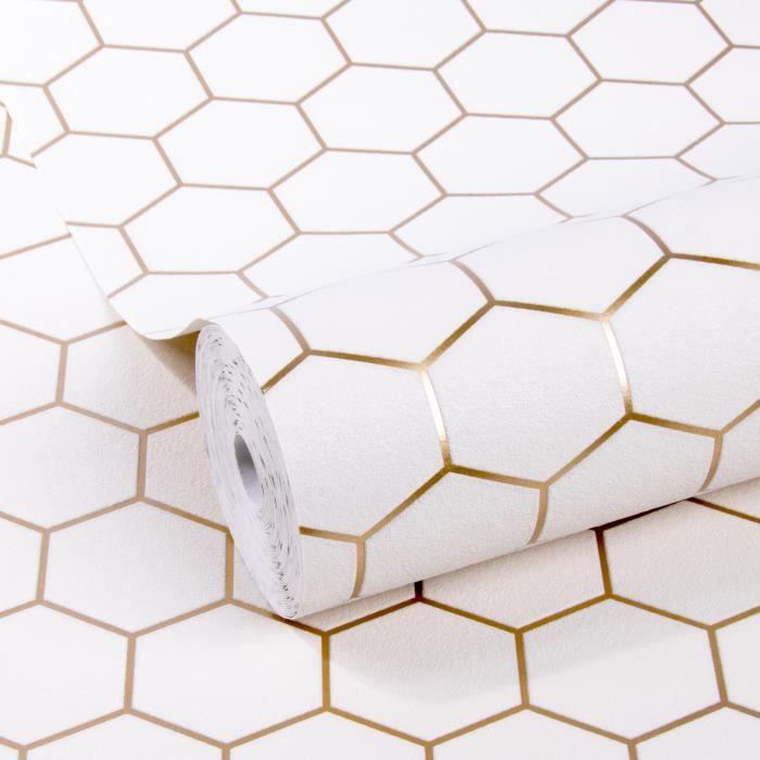 Papier peint intissé Hexagone Geo Blanc Cuivre Or 10m x 52cm WOW