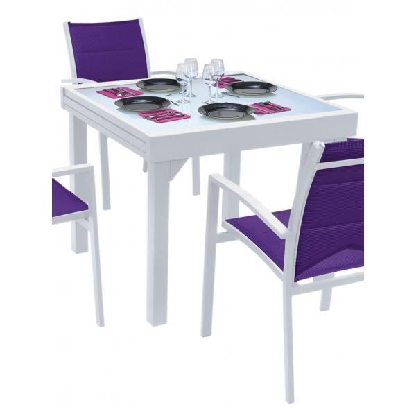 table modulo blanche 4 8 personnes achat vente table de jardin table modulo blanche cdiscount. Black Bedroom Furniture Sets. Home Design Ideas