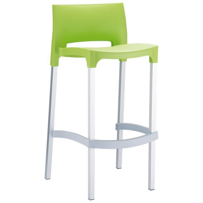tabouret de bar 39 maty 39 vert avec dossier achat vente tabouret de bar plastique aluminium. Black Bedroom Furniture Sets. Home Design Ideas