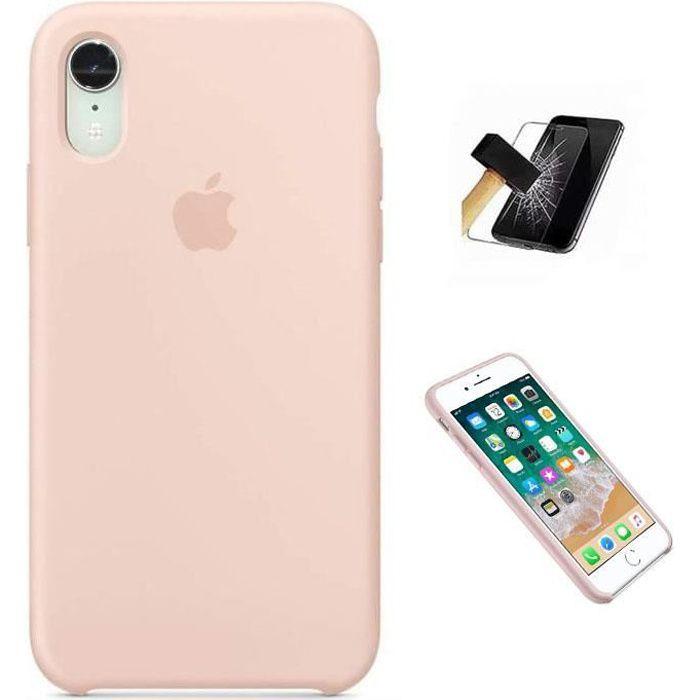 apple coque en silicone pour iphone xr 6 1 rose d
