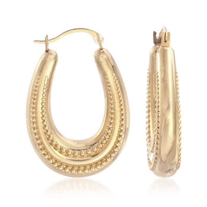 Womens 14kt Yellow Gold Beaded Oval Hoop Earrings. 1 ST6OU