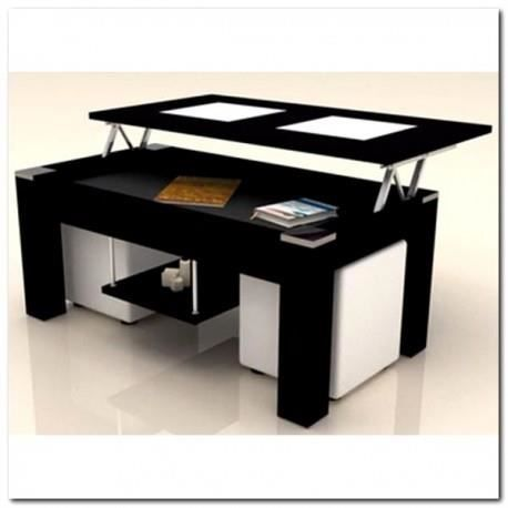 table basse noir plateau relevable 2 poufs blanc achat vente table basse table basse noir. Black Bedroom Furniture Sets. Home Design Ideas