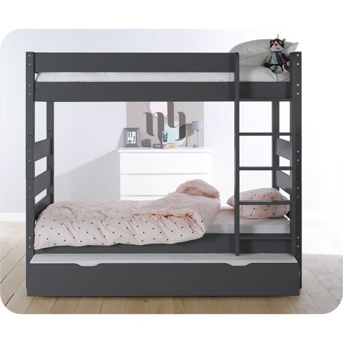 pack lit superpos kids gris anthracite avec tiroir de lit et 2 matelas achat vente lits. Black Bedroom Furniture Sets. Home Design Ideas