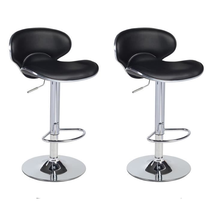 Lot de 2 tabourets de bar design simili cuir noir achat for Housse de tabouret de bar