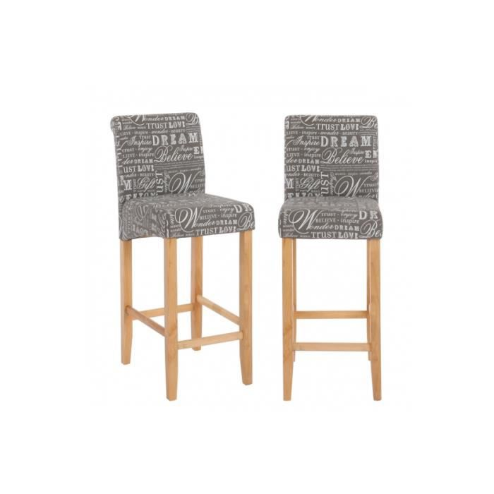 lot de 2 tabourets de bar en tissu imprim gris achat vente tabouret de bar gris soldes d. Black Bedroom Furniture Sets. Home Design Ideas