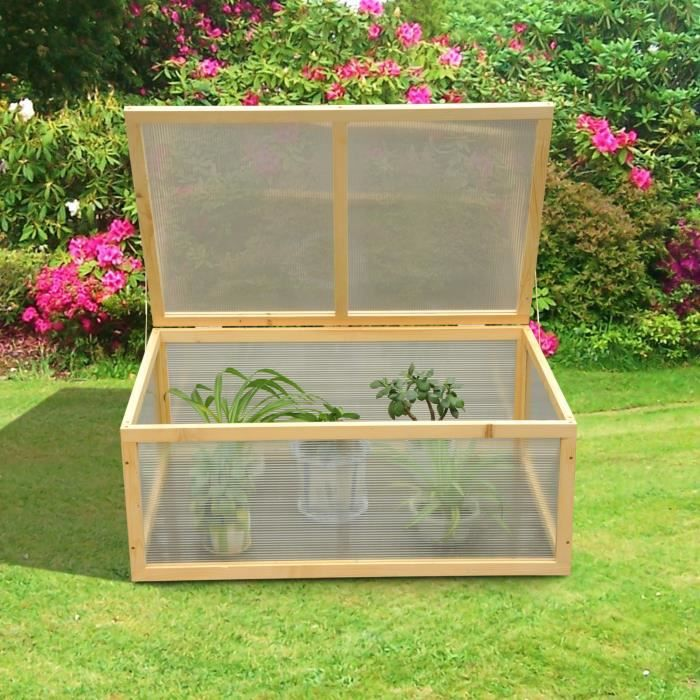 mini serre de jardin serre tomates 100l x 66l x 40h cm bois massif polycarbonate neuf 43. Black Bedroom Furniture Sets. Home Design Ideas