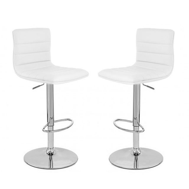 tabouret de bar blanc x2 prince achat vente tabouret de bar pvc acier chrom soldes d. Black Bedroom Furniture Sets. Home Design Ideas