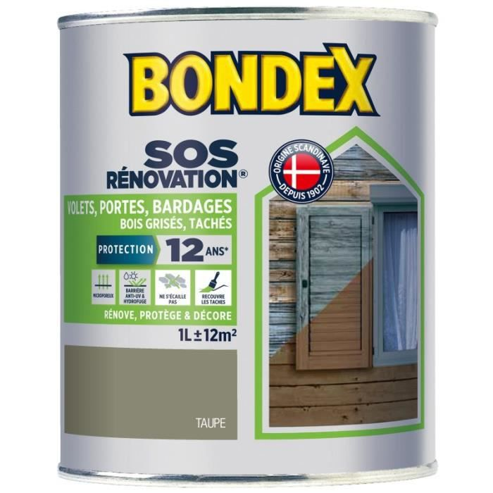 Bondex Lasure Opaque Renovation Volets Taupe Satin 1l Achat Vente Peinture Vernis Lasure Taupe Satin 1 L Cdiscount