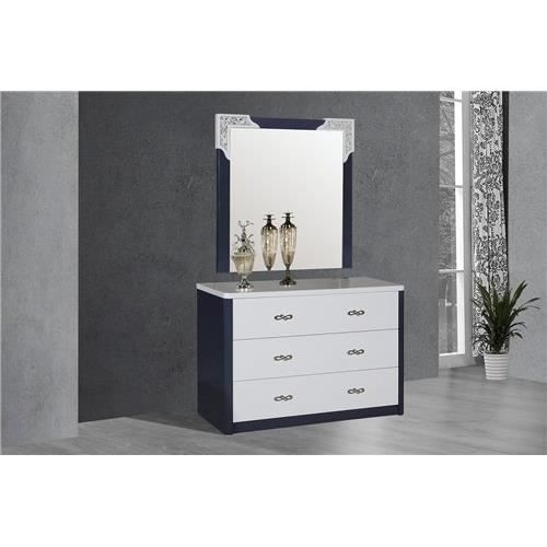 commode design anthony avec miroir gris et blanc achat vente commode de chambre commode. Black Bedroom Furniture Sets. Home Design Ideas
