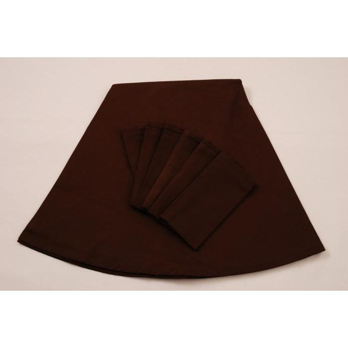 Ensemble lot nappe 6 serviettes couleur marron achat - Ensemble nappe et serviette de table ...